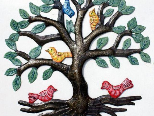 Arboles de la vida pintados en metal, decoracion del pared